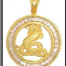 Cobra Medallion CZ Pendant In Gold Or Rhodium CZP-151