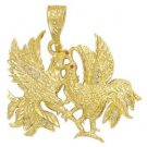 Fighting Roosters Ruby CZs Pendant czp-33
