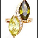 Marquise Peridot, Olivine CZ Gold Layered Ring LR-126