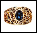"""""""Air Force"""" Ring Blue CZ Gold Or Rhodium Layered LR-172"""
