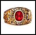 """MARINES"" Ring Ruby CZ Gold Or Rhodium Layered LR-173"