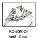April Rhodium Layered Clear CZ Ring RDBSR-24