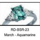 March Birthstone Ring Aquamarine CZ   RDBSR-23