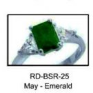 May Birthstone Ring Emerald Green CZ  RDBSR-25