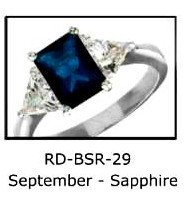 September Birthstone Ring Sapphire Blue  RDBSR-29