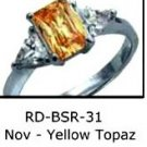 November Birthstone Ring Yellow Topaz CZ  RDBSR-31
