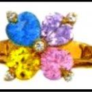 Rainbow Heart Ring Gold Or Rhodium LR-143