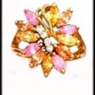 Pink Ice /Citrine CZ Cocktail Ring Gold Layered LR-123