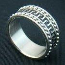Stainless Steel Greek Key Studded Biker Ring B9077-jj