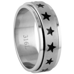 Stainless Steel Stars Spinner Ring SR-480-B
