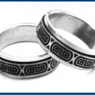 Stainless Steel  Engraved Key Design Spinner Ring B1138