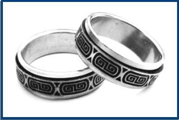 Stainless Steel  Engraved Key Design Spinner Ring B1138