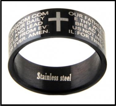 """Stainless Steel """"Lords Prayer"""" Ring Band Ring SR-296"""