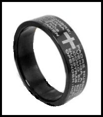 """Spanish Stainless Steel """"Lords Prayer"""" Ring Band"""