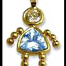 March Girl Birthstone Baby Gold Layered CZ-5
