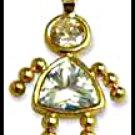 April Girl Birthstone Baby Gold Layered CZ-7