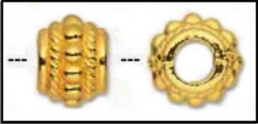 Gold Plated, 8x6mm Drum Bead, 3.5mm Center Hole H20-8865MB