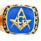 Scroll Design Blue Freemason Ring MN-82