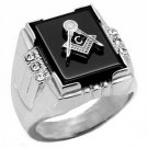 Stainless Steel Agate Masonic Ring A-TK8X027