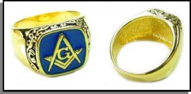 Scroll Design Blue Freemason Ring MN-82 dark