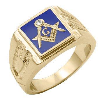 Freemason  Sapphire Blue Gold Plated Ring M-126 jg