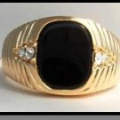 Jet Black Stone Ring Gold  Layered MN-68
