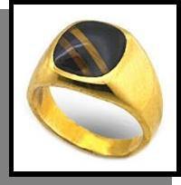 Tiger Eye Inlay Ring Gold Layered MN-70