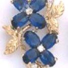 Sapphire CZ Flower Gold Or Rhodium Layered Pendant CZP-552