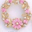 Flower Wreath Pink CZ Gold  Layered Pendant CZP-568