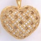 Puffy CZ Heart Gold Or Rhodium Layered Pendant CZP-625