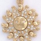 Aztec Sun Sign Gold Or Rhodium Layered  Pendant CZP-621
