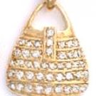 CZ Purse Gold Or Rhodium Layered Pendant CZP-598
