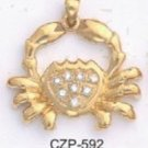 CZ Crab Gold Or Rhodium Layered Pendant CZP-592