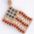 American Flag Pendant Gold Or Rhodium Layered CZP-647