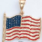 American Flag Pendant Gold Or Rhodium Layered  CLR-1