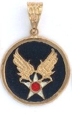 US Army, Air Force Insignia Gold Or Rhodium  Layered Pendant CLR-3