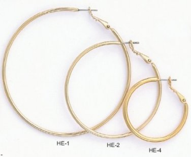 Hoop Earrings Layered In Gold  2 1/4 Inches HE-1