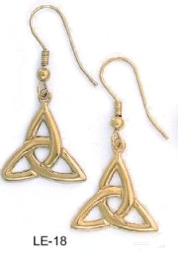 Celtic Triquetra Dangle Earrings Gold Or RhodiumLayered  LE-18