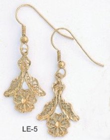 Victorian Flower Earrings Gold Or Rhodium Layered  LE-5