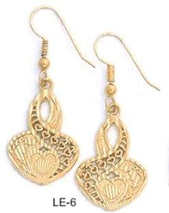 Filigree Hearts Earrings Gold Or Rhodium Layered  LE-6