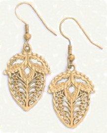 Filigree Acorn Earrings Gold  Layered  LE-2