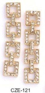 Sparkling Squares Dangle Earrings  CZE-121