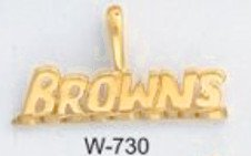 "Cleveland ""BROWNS"" Football  Team Pendant Gold Or Rhodium W-730"