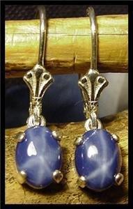 Star Sapphire 8x6 Leverback Earrings SSE-2