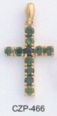 Emerald Green Russian CZ Cross Pendant CZP-466