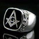 Scroll Design Black Freemason Ring RDMN-80