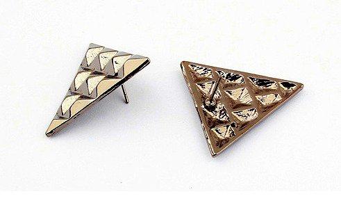 Vintage Style Triangle Stud Earrings (Silver)
