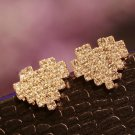 Fashion Heart Shaped Rhinestone Stud Earrings (Gold)