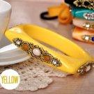 Square Shaped Rhinestone Bangle Bracelet (Yellow)