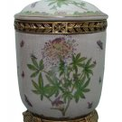 PORCELAIN FLORAL JAR W/ LID AND ANTIQUE LOOK BRASS